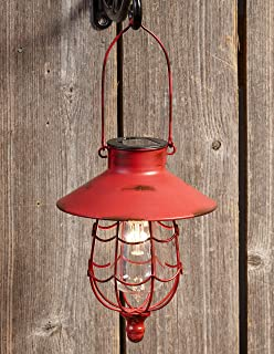 Distressed Porch Lantern - Solar-Powered Light with Vintage-Style Cage - Red