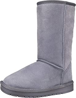 Women's Suede Leather Snow Boots Mid Calf Classic Knee High Warm Winter Booties
