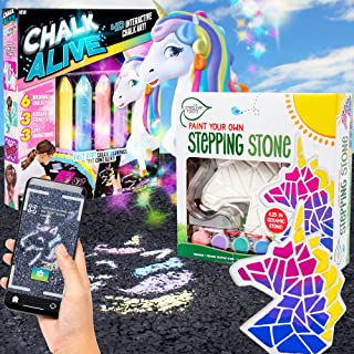 Chalk Alive Augmented Reality Sidewalk Chalk Art & Creative Roots Unicorn Stepping Stone Bundle By Horizon Group USA, 2-i...