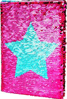 Maxdot Reversible Sequins Notebook Double Sided Flip Sequin Notebook Journal with Star Pattern, Blue and Pink