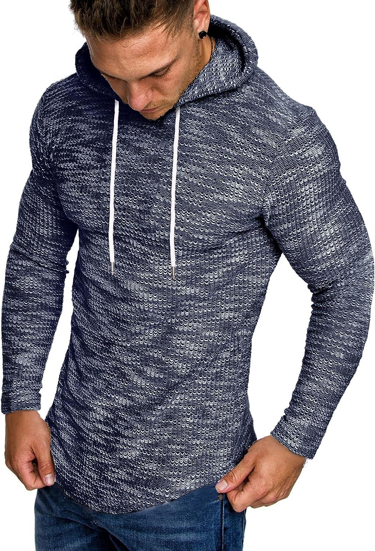 COOFANDY Men's Knitted Hooded Sweater Casual Lightweight Slim Fit Hoodies Sweatshirt