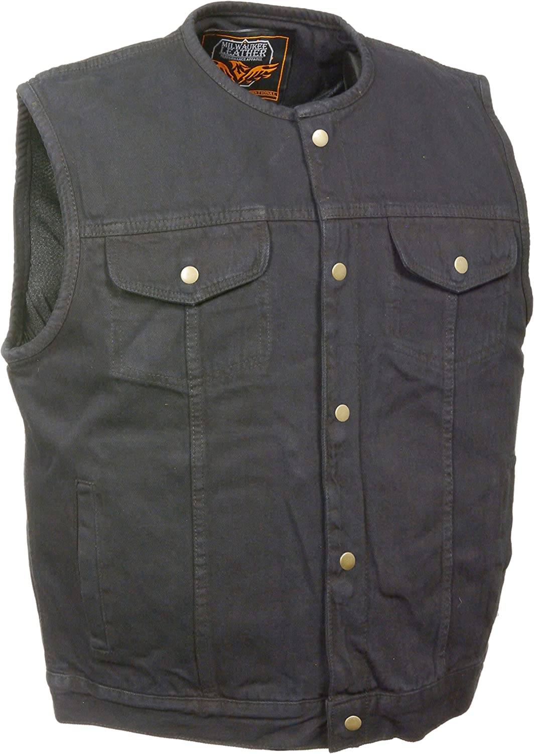 Men's SOA Anarchy Style Denim Vest w/One Inside Concealed Weapon Gun Pockets (Small, Black Collarless)