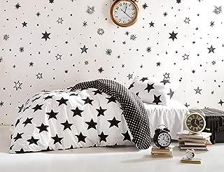 DecoMood Stars Bedding Set, Single/Twin Size Quilt/Duvet Cover Set, Black and White Girls Boys Bed Set, Reversible (3 Pcs)