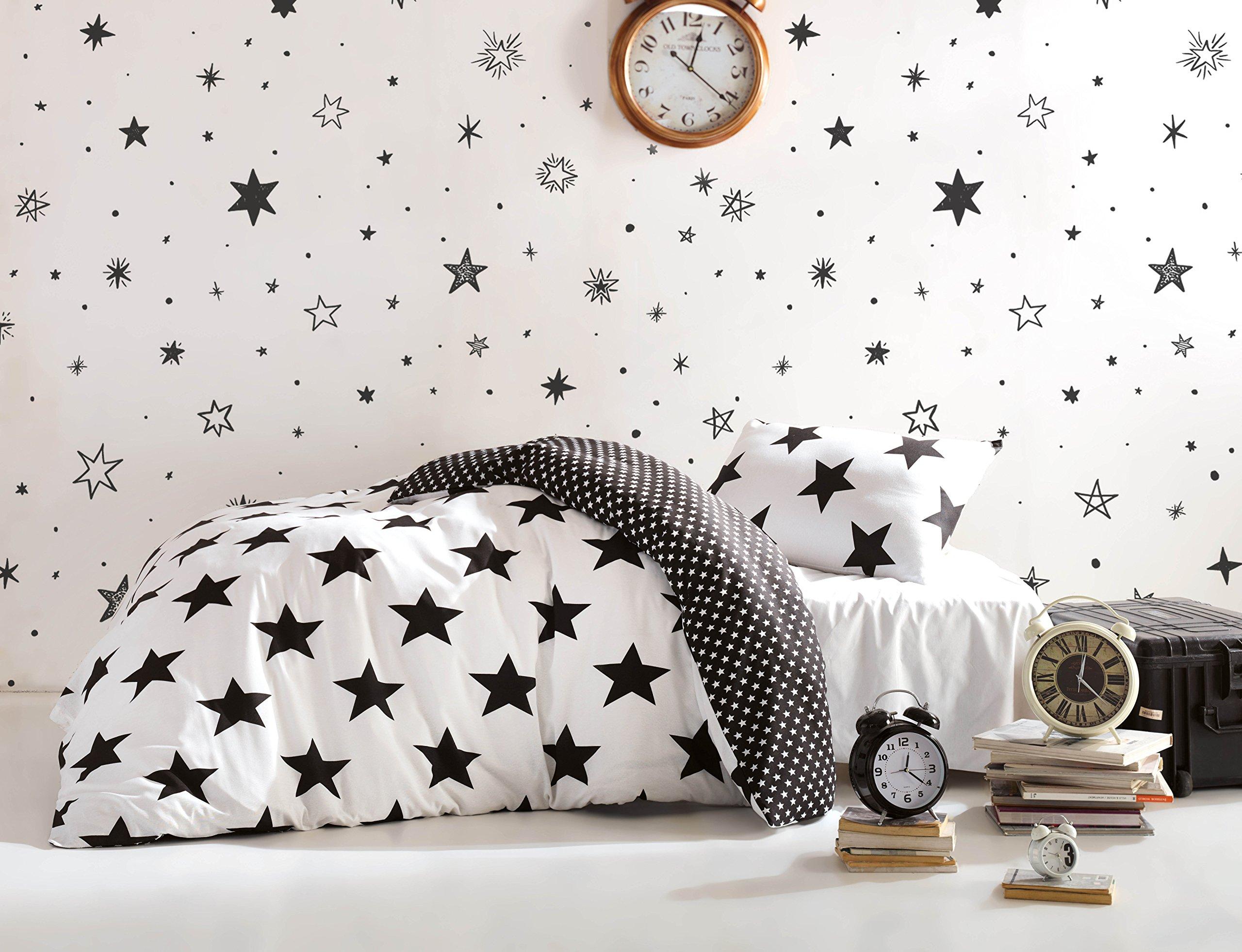 Stars Bedding Set Single Twin Size Quilt Duvet Cover Set Black And White Girls Boys Bed Set Reversible 3 Pcs Kitchen Dining