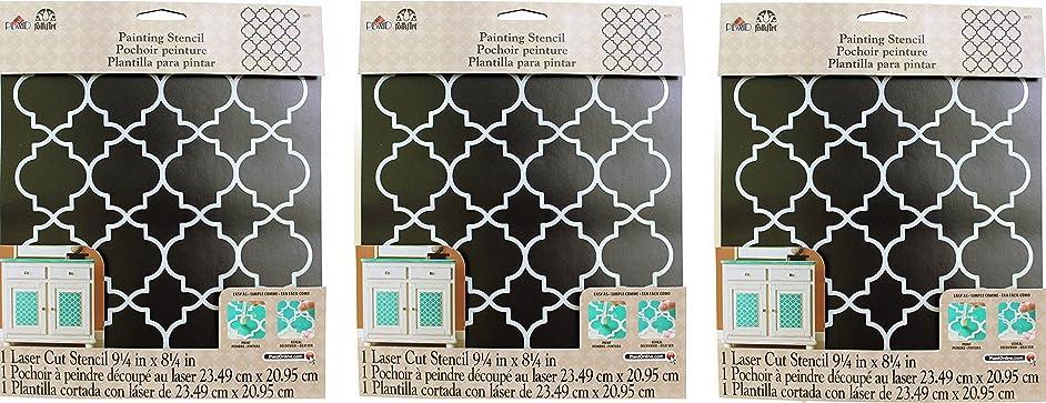 FolkArt Handmade Charlotte Laser Stencils, 4377 Moroccan Tile (3 Pack)