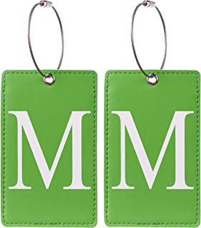2 Pack Initial Luggage Tag Green by Gostwo Fully Bendable Tags Stainless Steel Loop (M)