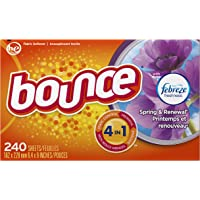 Bounce w/Febreze Scent Spring & Renewal Fabric Softener Sheets 240Ct