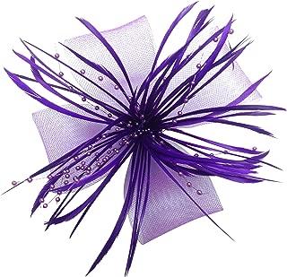 EEVASS Damen Blume Fascinator Korsage Brosche Pin Haarspange Feder