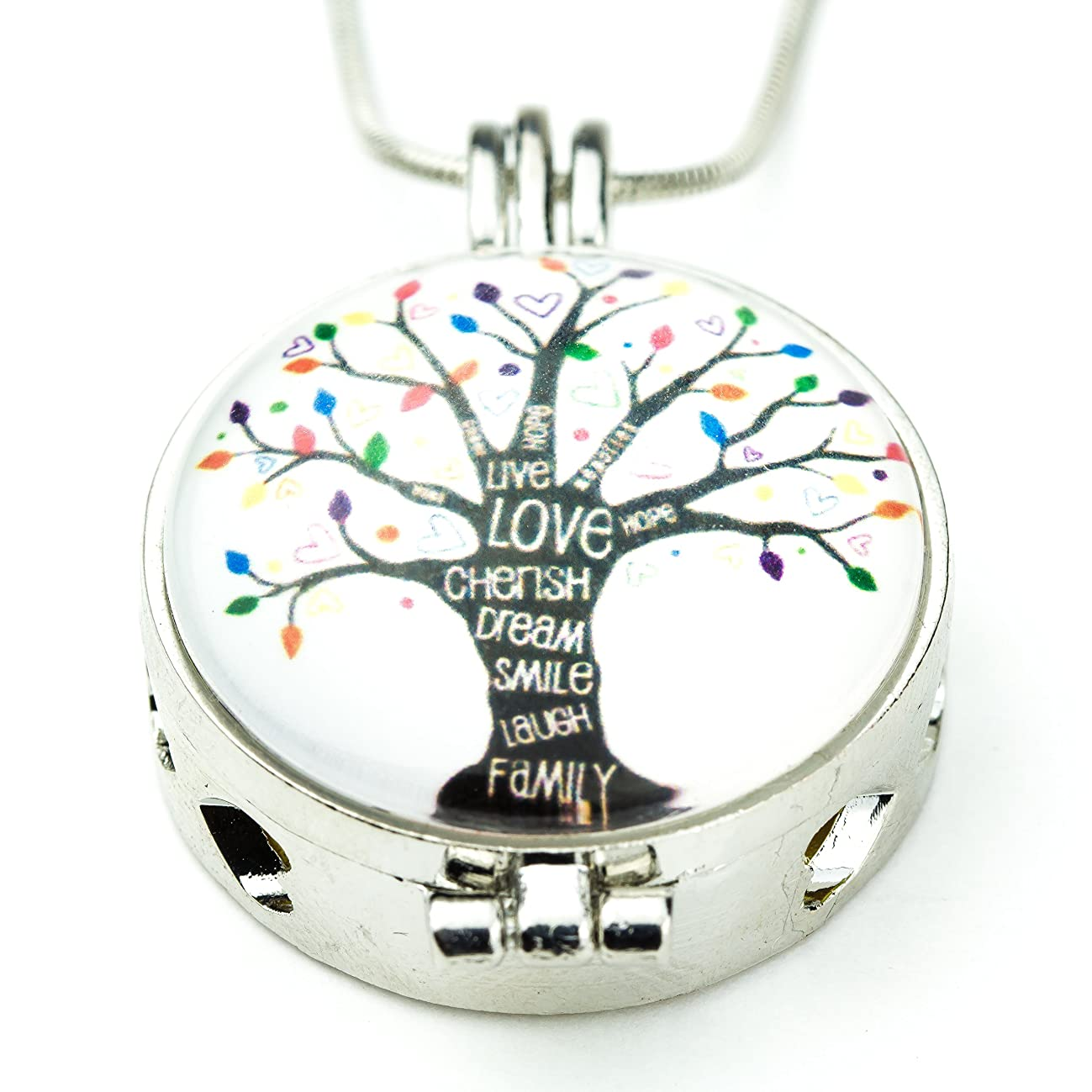 Soul Statement Essential Oil Necklace Tree of Life Charm Pendent Anti Anxiety Jewelry