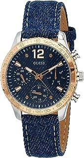Guess Women's watch Multi-function Display Quartz Movement Leather W1057L1, Ladies Blue