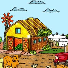 Country Farm Color by Number Book - Grownups Paint + Glitter + Crayon Coloring Pages