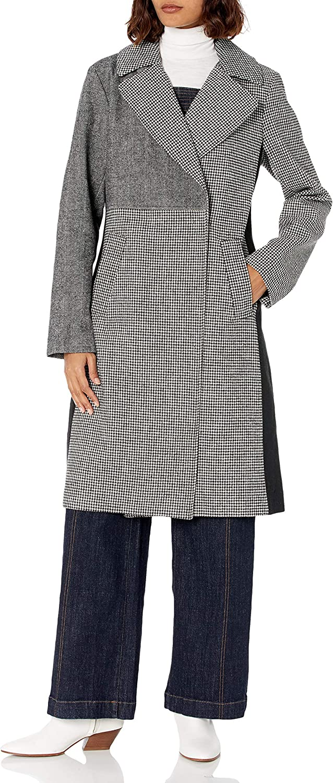 RACHEL Rachel Soldering Sales results No. 1 Roy Women's Mixed Coat Wool Synthetic Long Print