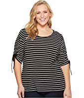 Vince Camuto Specialty Size Plus Size Drawstring Sleeve Linear Step Stripe Top