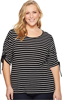 Plus Size Drawstring Sleeve Linear Step Stripe Top