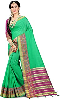 Sarees for Women Cotton Silk Woven Saree l Indian Wedding Gift Sari with Unstitched Blouse