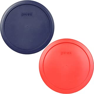 Pyrex 7402-PC (1)Blue and (1)Red 6/7 Cup Plastic Lid for Glass Bowl-2 Pack