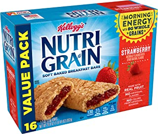 Kellogg's Nutri-Grain Soft Baked Strawberry Breakfast Bars - School Lunchbox Snacks, Individual Wrapped Bars (48 Count)