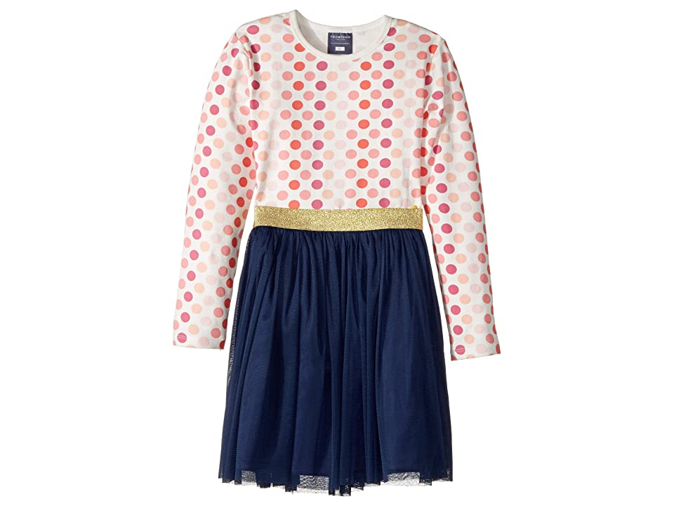 Toobydoo Fun Dots Tulle Dress (Infant/Toddler/Little Kids/Big Kids) (Pink/White/Navy) Girl