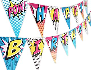 Superhero Pink Happy Birthday Banner Pennant