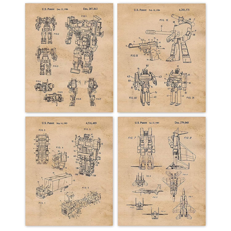 Vintage Classic Transformer Toys Patent Popularity Poster Prints U of 8x10 Set 4
