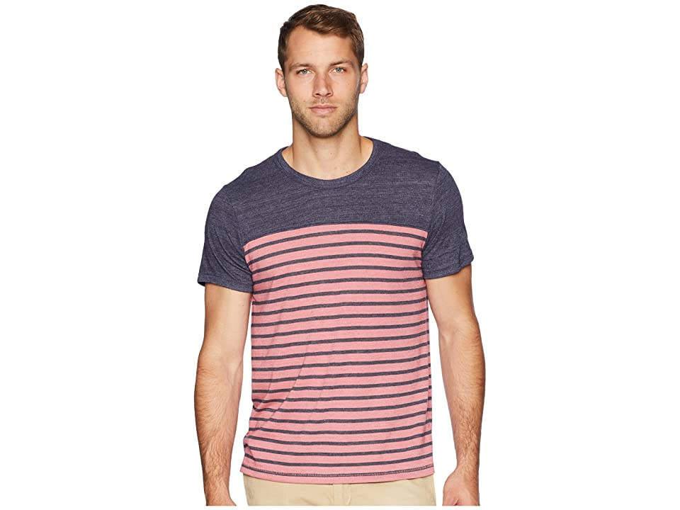 Alternative Eco Jersey First Mate Tee (Washed Rose Overdye Riviera Stripe) Men