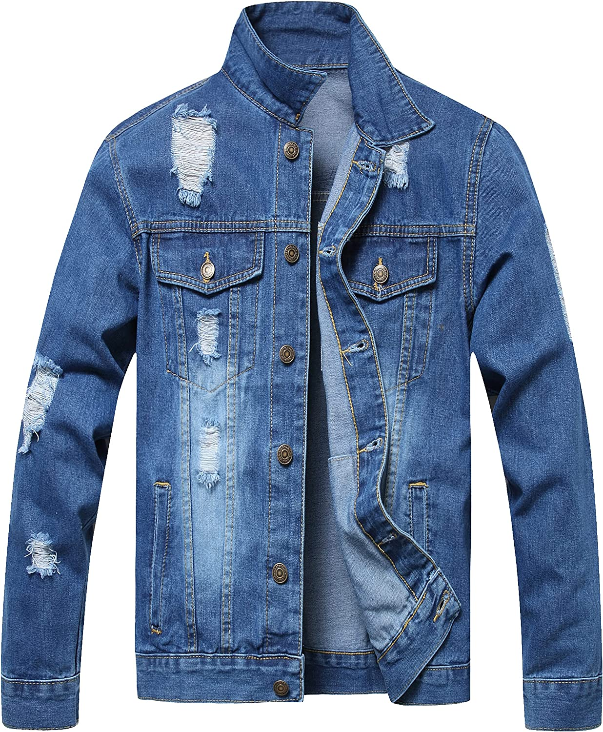 JSACYTF Men's Denim Jacket,Classic Ripped Jean Jacket for Men with Holes