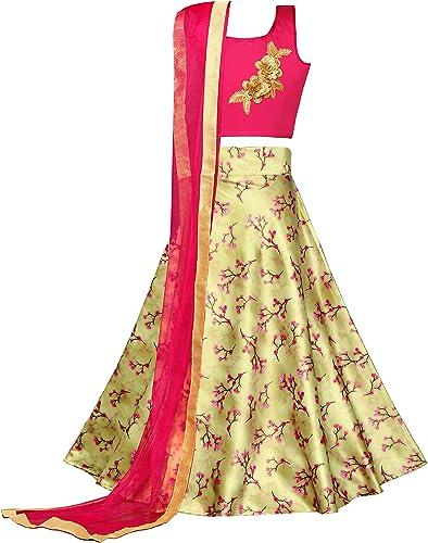Fashion Dream Girl's Satin Readymade Lehenga Choli