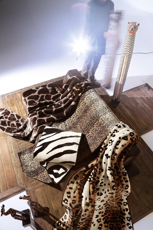 bocasa by biederlack 136970 Couverture en velours env. 220 x 240 cm 85% polyacrylique, 15% polyester Zébré Marron