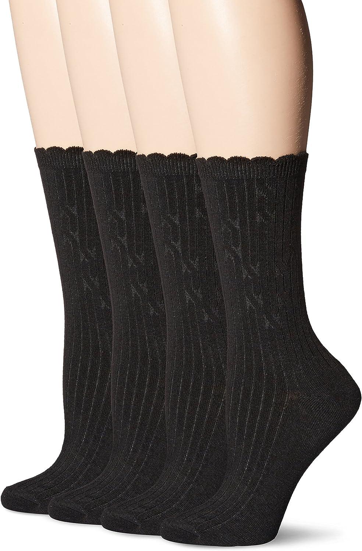 PEDS Women's Classic Ladies Dress Crew Socks|,| 4 Pairs