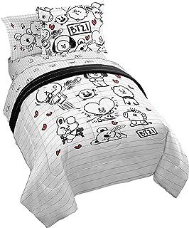 Jay Franco Line Friends BT21 Black & White Doodle 5 Piece Twin Bed Set - Includes Reversible Comforter & Sheet Set - Super...