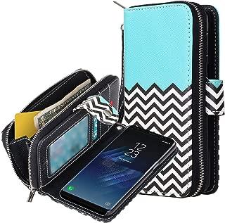 E LV Purse Case for Galaxy S8 - Case Cover PU Leather Flip Folio Wallet Purse Case Cover for Samsung Galaxy S8 - [Zigzag]