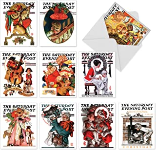 10 Assorted 'Christmas Evening Post' Note Cards with Envelopes 4 x 5.12 inch, Blank Holiday Greeting Cards with Iconic Saturday Evening Post Covers, Stationery for Xmas, New Year, Gifts M6037