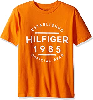 Tommy Hilfiger Little Boys' Graphic Short Sleeve Tee, Russet Orange, Large/6