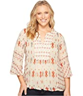 Lucky Brand - Plus Size Mix Print Boho Top