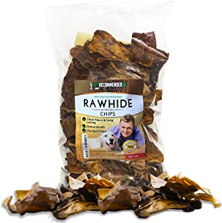 Vet Recommended Beef Rawhide Chips for Dogs (Big 2lb Bag), Thick Fiber & Long Lasting Dog Chew. 100% Natural, No Preservatives, Gluten Free Dog Treat. Make Your Dog's Dental Healthy & Strong