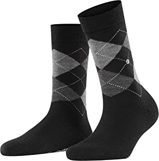 BURLINGTON Women Marylebone socks, 1 pair, UK size 3.5-7 (EU 36-41), Black, virgin wool mix - Warm, timeless argyle design