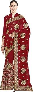 Mirchi Fashion Women's Heavy Embroidery Bridal/Wedding Wear Saree (2383_Red)