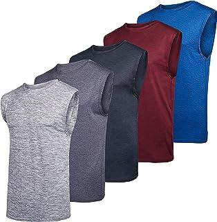عبوة من 5 قطع من ريل اسينشالز: قمصان رياضية شبكية بدون اكمام اكتيف تك للرجال - ملابس رياضية للتمرين والتدريب