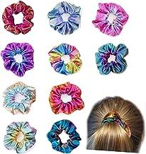 10 Pack Shiny Metallic Large Hair Scrunchies Rainbow Elastics Mermaid Hair Ties Ponytail Holder for Teen Girls 10 Colors