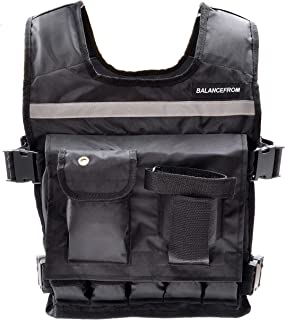 BalanceFrom Adjustable Weighted Vest with Shoulder Pads and Reflective Straps