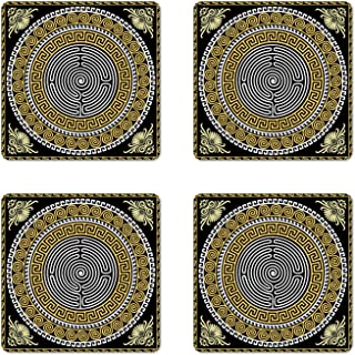 Ambesonne Greek Key Coaster Set of 4, Classical Pattern with Intricate Design Spiral Waves Frame and Maze, Square Hardboard Gloss Coasters for Drinks, Standard Size, Yellow White