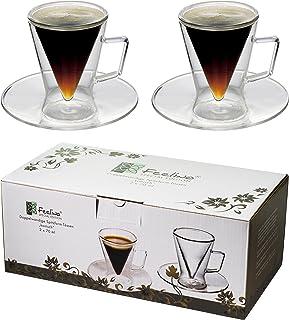 2x tasses à double paroi de 70 ml avec soucoupe, design moderne pour votre espresso - Design protégé et exclusif, un cadea...