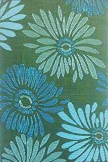 Mad Mats Daisy Indoor/Outdoor Floor Mat, Aqua Green, 4' by 6'