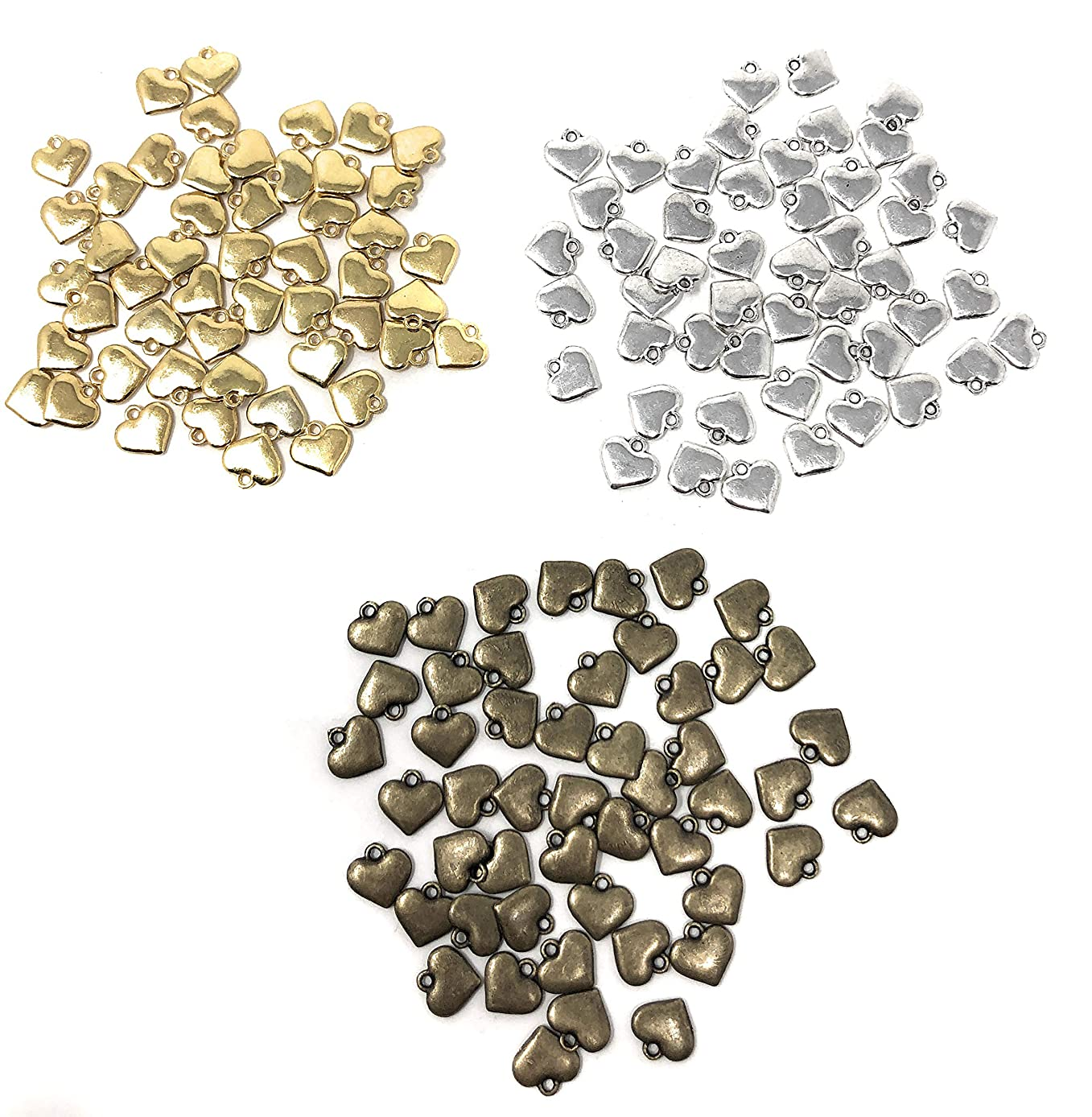 Rusoji 150pcs Assorted Color Alloy Mini Heart Charms Pendants for DIY Craft, Necklace, Bracelet, Earrings, Choker, Jewelry Accessories, 50pcs Per Color