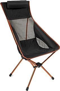 Cascade Mountain Tech Outdoor High Back Lightweight Camp Chair with Headrest and Carry Case