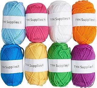 TYH Supplies 8 Skeins 70 Yard Acrylic Yarn Assorted Rainbow Colors