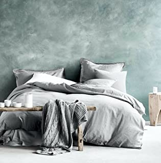Eikei Washed Cotton Chambray Duvet Cover Solid Color Casual Modern Style Bedding Set Relaxed Soft Feel Natural Wrinkled Look (Queen, Ice Grey)