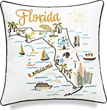 EURASIA DECOR Florida State Embroidered Decorative Accent Pillow Cover – Birthday..