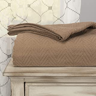 SUPERIOR 100% Cotton Thermal Blanket - All-Season Oversized Throw, Woven Blanket with Herringbone Weave Pattern, Taupe, Tw...