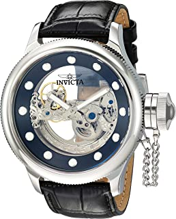 Men's Russian Diver Stainless Steel Automatic-self-Wind Watch with Leather Calfskin Strap, Black 25.5